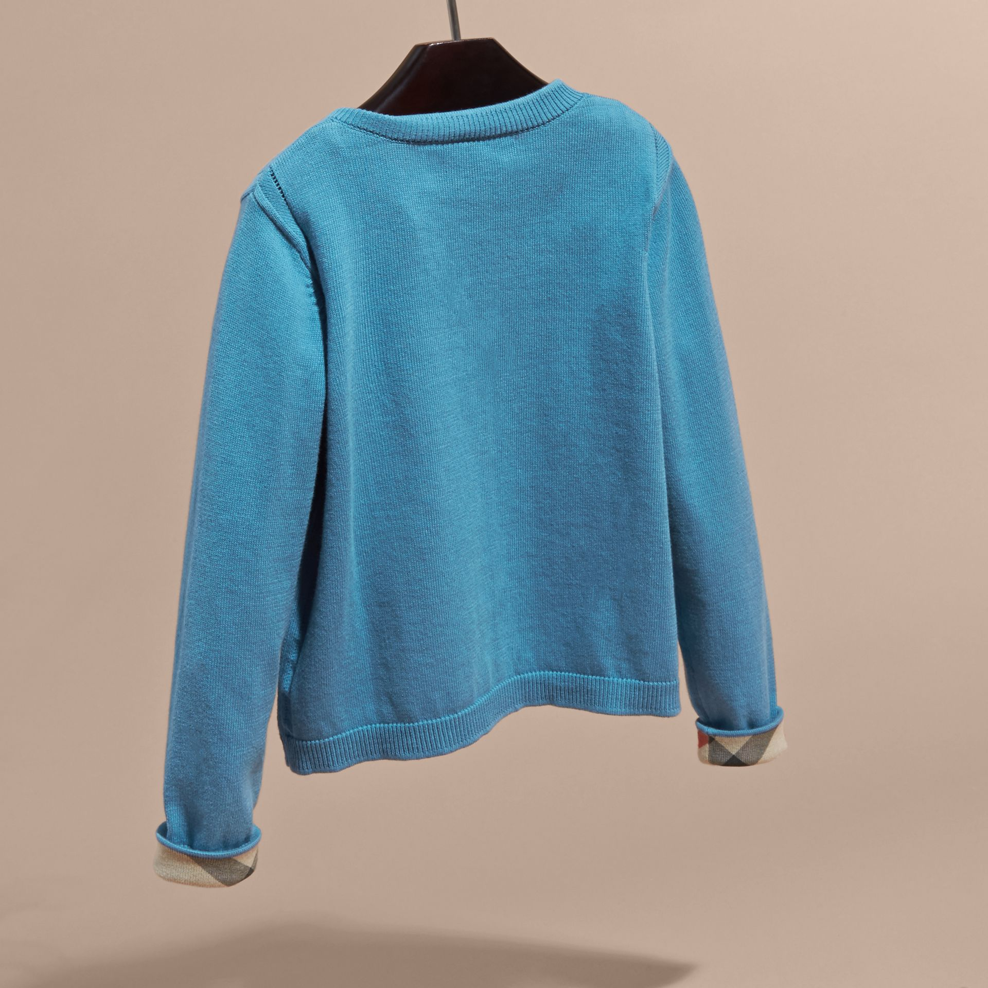 Check Cuff Cotton Knit Cardigan Pale Pewter Blue - gallery image 4