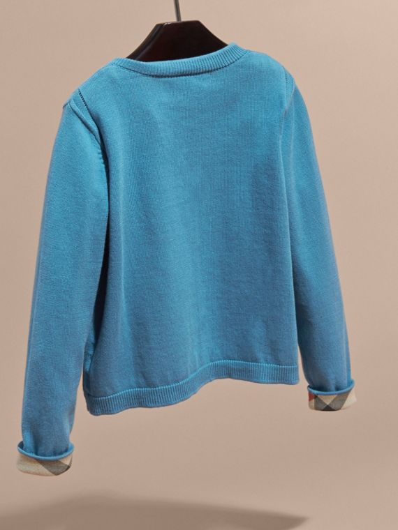 Check Cuff Cotton Knit Cardigan Pale Pewter Blue - cell image 3
