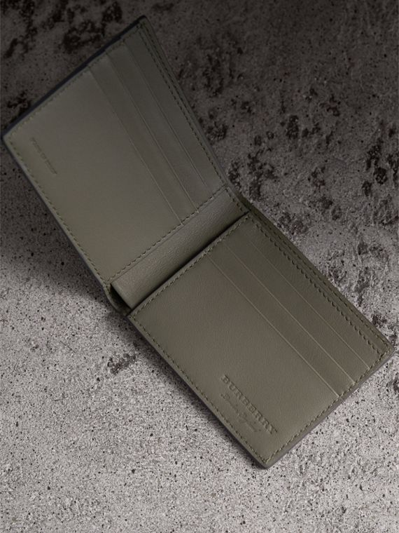 Textured Leather Bifold Wallet in Slate Green - Men | Burberry United Kingdom - cell image 3