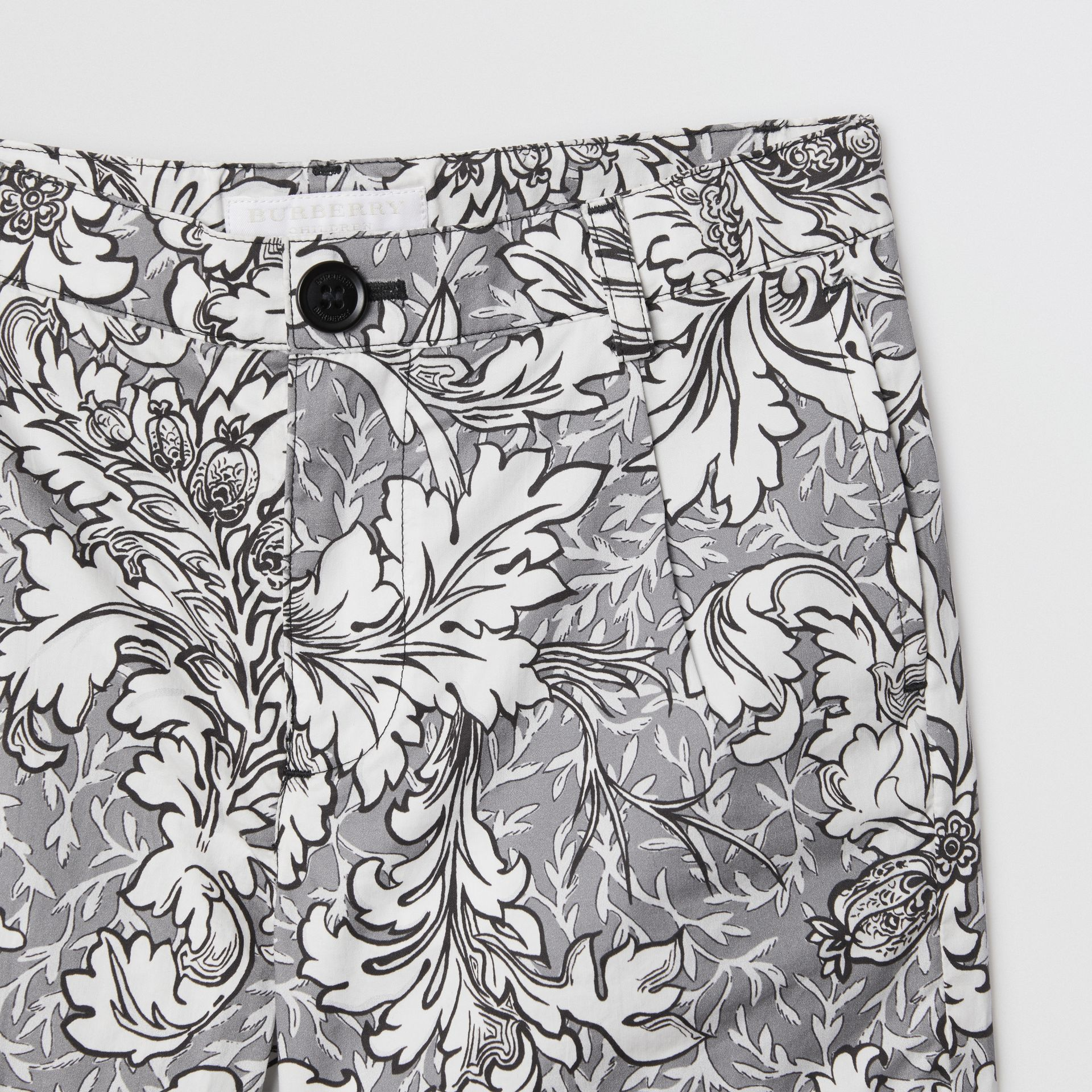 Floral Print Cotton Tailored Shorts in Mid Grey Melange | Burberry - gallery image 4
