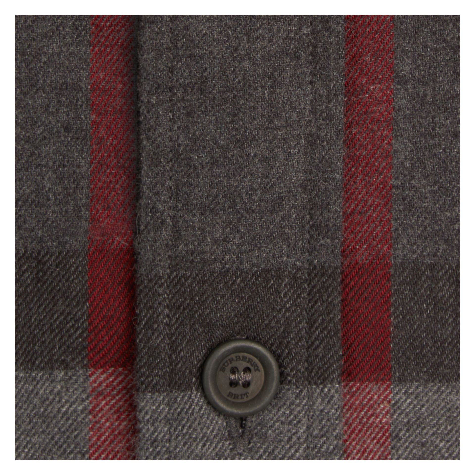 Charcoal Check Cotton Flannel Shirt Charcoal - gallery image 2
