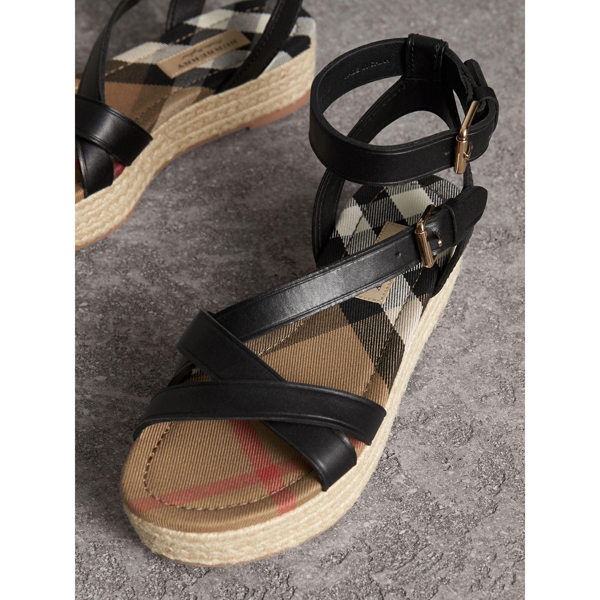Leather and House Check Espadrille Sandals in Black - Women | Burberry - gallery image 5
