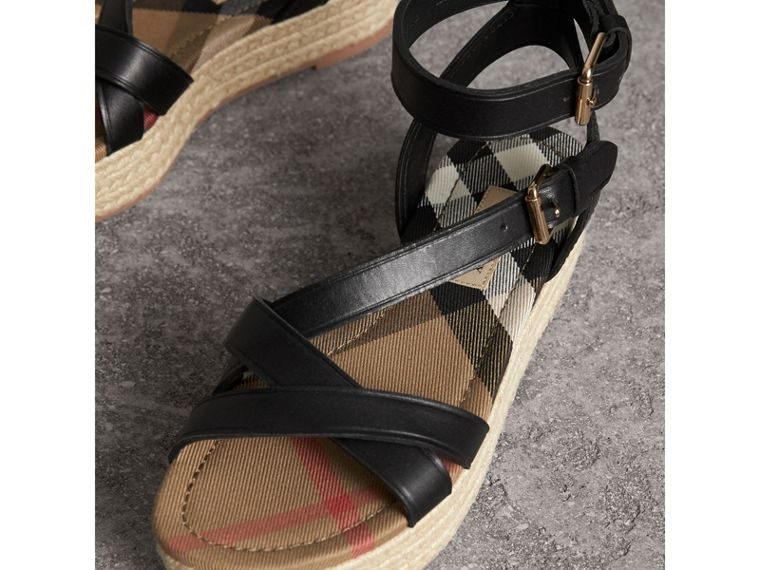 Leather and House Check Espadrille Sandals in Black - Women | Burberry - cell image 4