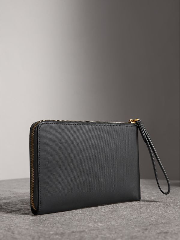 Two-tone Trench Leather Travel Wallet in Black | Burberry - cell image 2