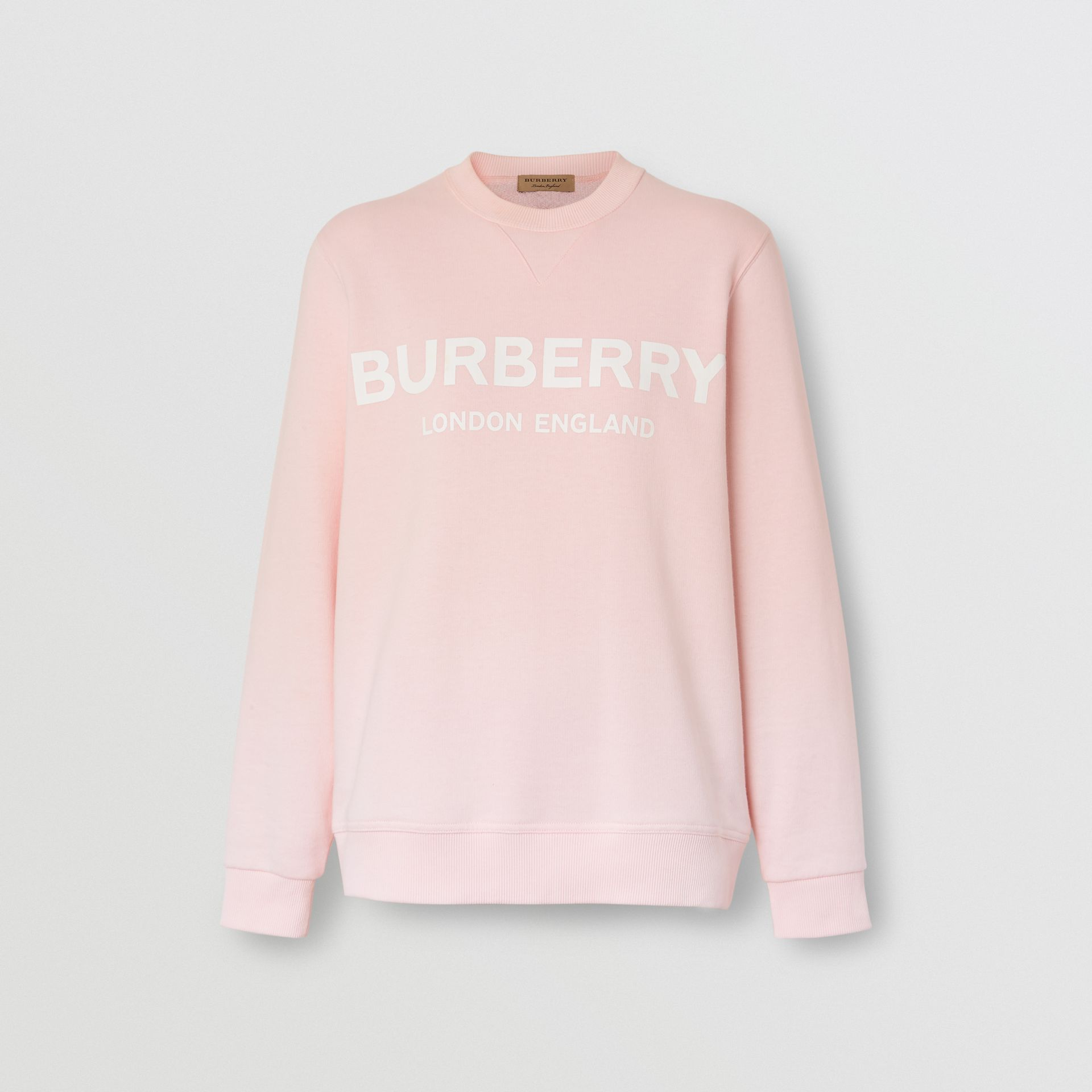 Logo Print Cotton Sweatshirt in Alabaster Pink - Women | Burberry United Kingdom - gallery image 3