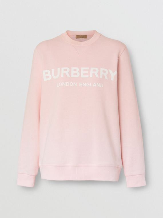 Logo Print Cotton Sweatshirt in Alabaster Pink