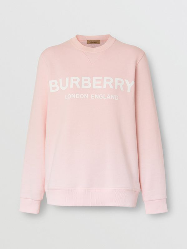 Logo Print Cotton Sweatshirt in Alabaster Pink - Women | Burberry United Kingdom - cell image 3