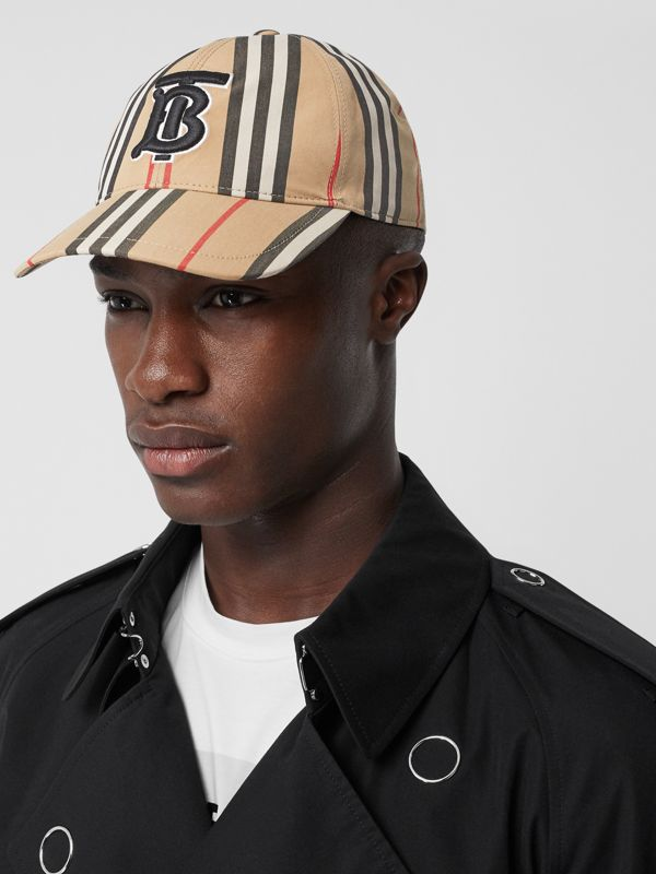 Monogram Motif Icon Stripe Cotton Baseball Cap in Archive Beige | Burberry United Kingdom - cell image 3