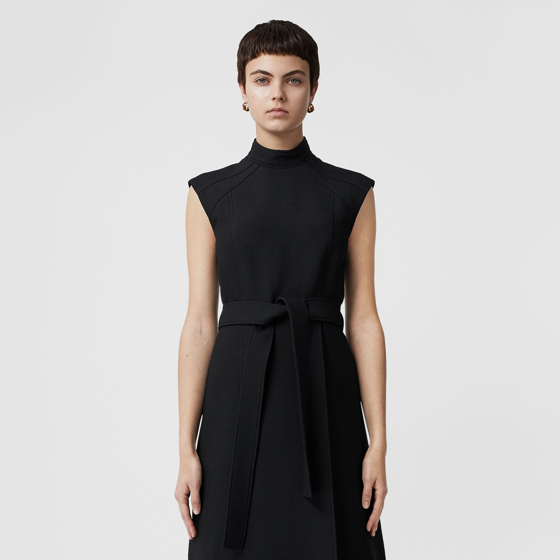 Wool Silk Belted Dress in Black - Women | Burberry United Kingdom - gallery image 6