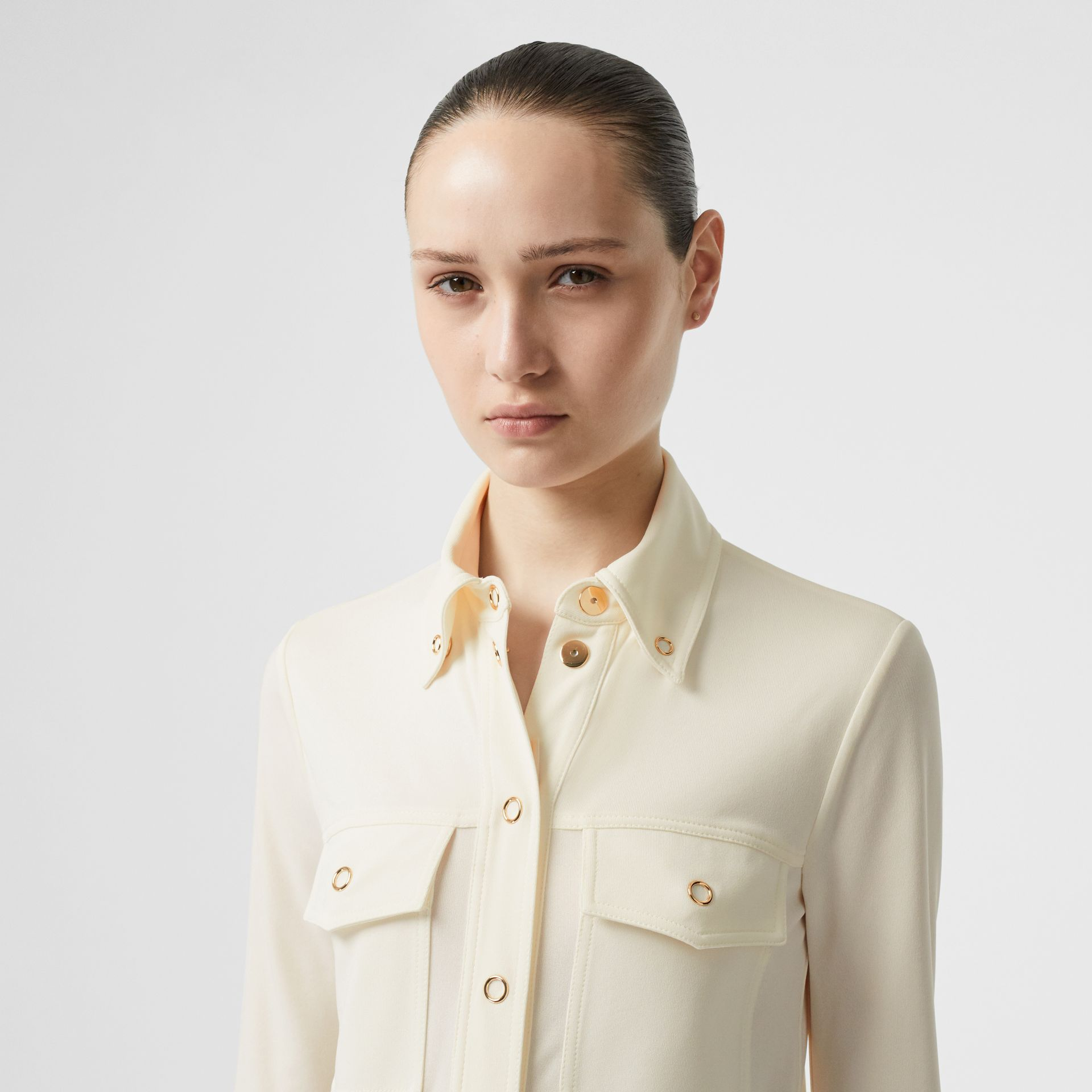 Press-stud Detail Jersey Shirt in Off White - Women | Burberry Hong Kong - gallery image 1