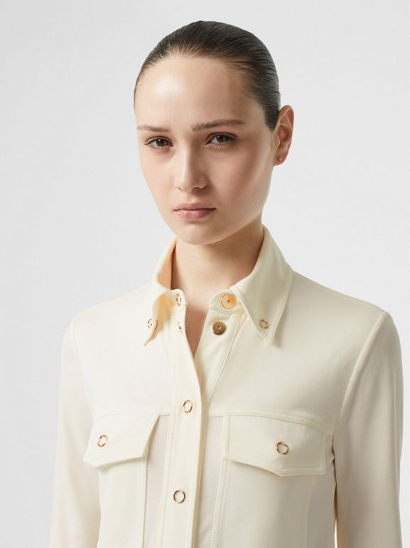 Press-stud Detail Jersey Shirt in Off White - Women | Burberry - cell image 1