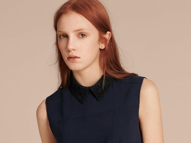 Navy Lace Collar Satin Top - cell image 4