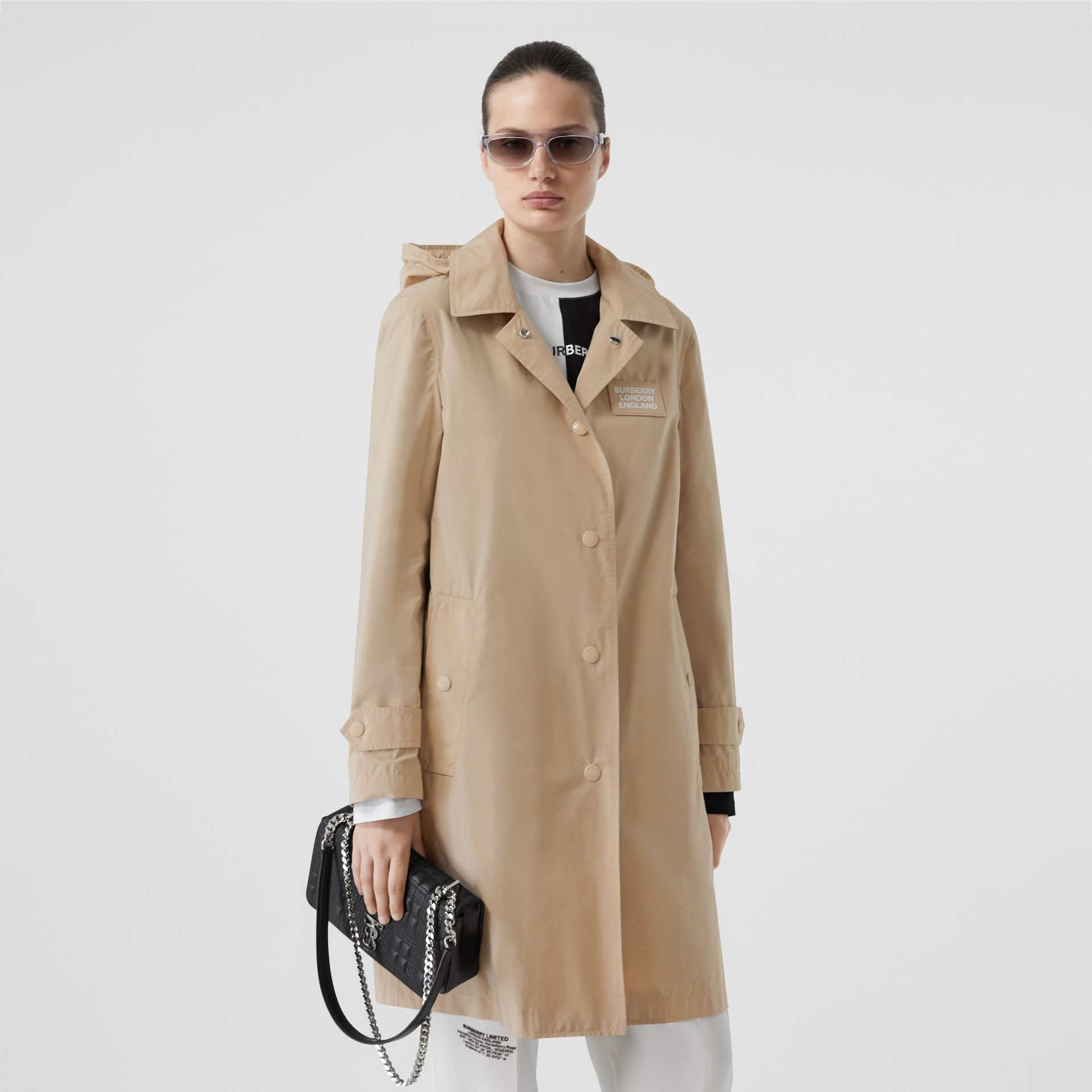 Detachable Hood Shape-memory Taffeta Car Coat in Dusty Beige - Women | Burberry United States - gallery image 7