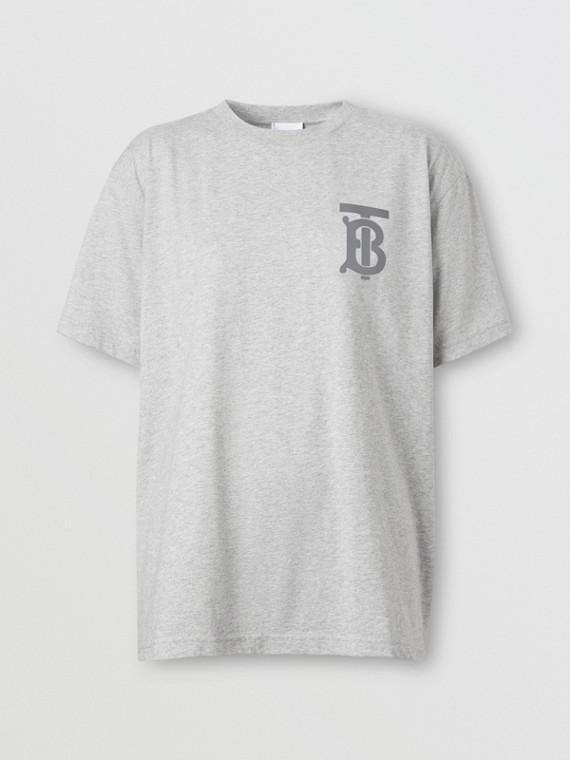 Monogram Motif Cotton Oversized T-shirt in Pale Grey Melange
