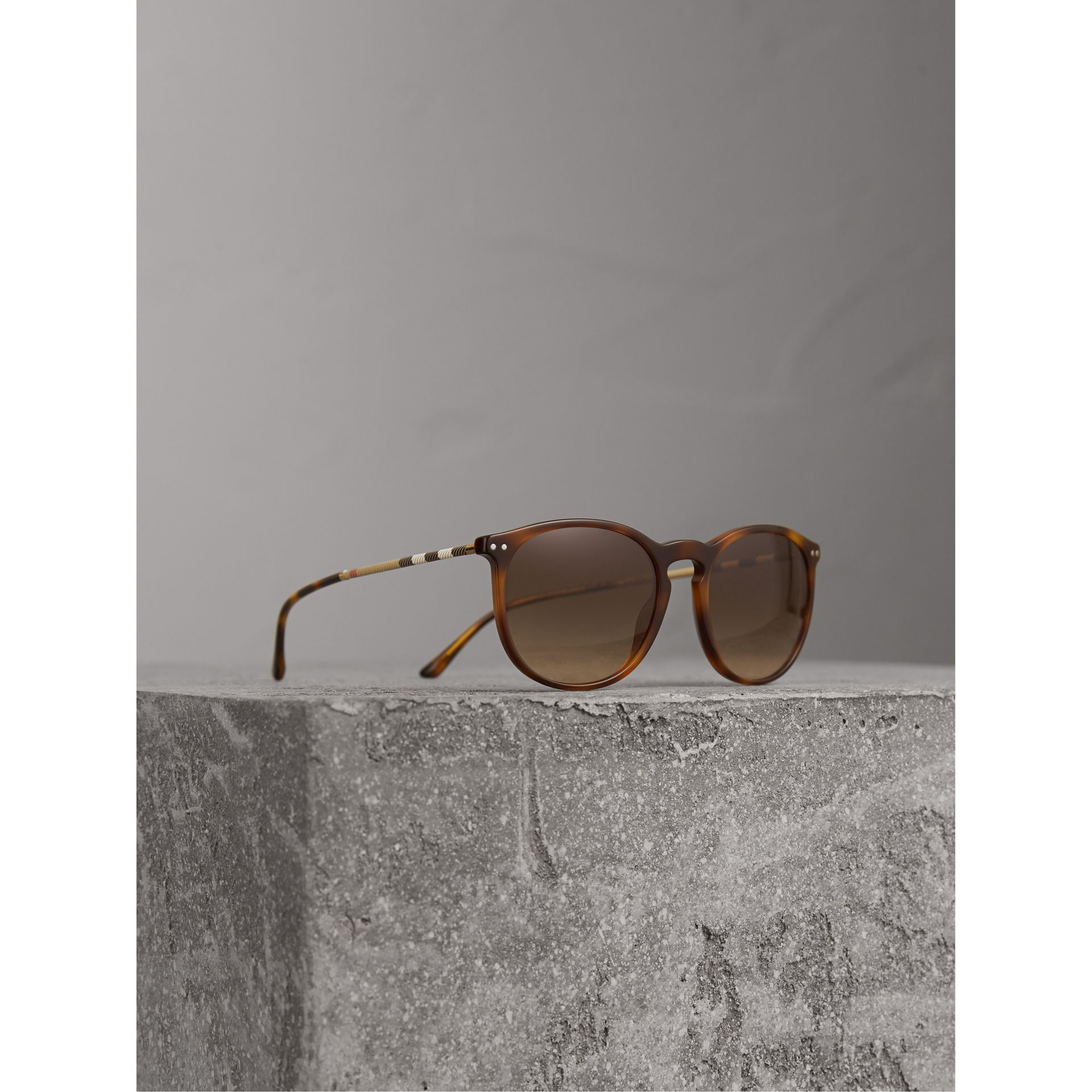 Check Detail Round Frame Sunglasses in Light Brown - Men | Burberry Hong Kong - gallery image 1