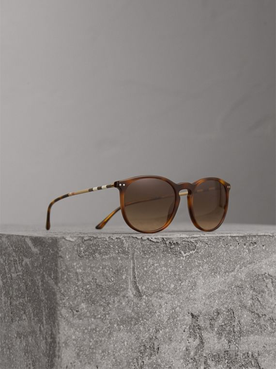 Check Detail Round Frame Sunglasses in Light Brown - Men | Burberry