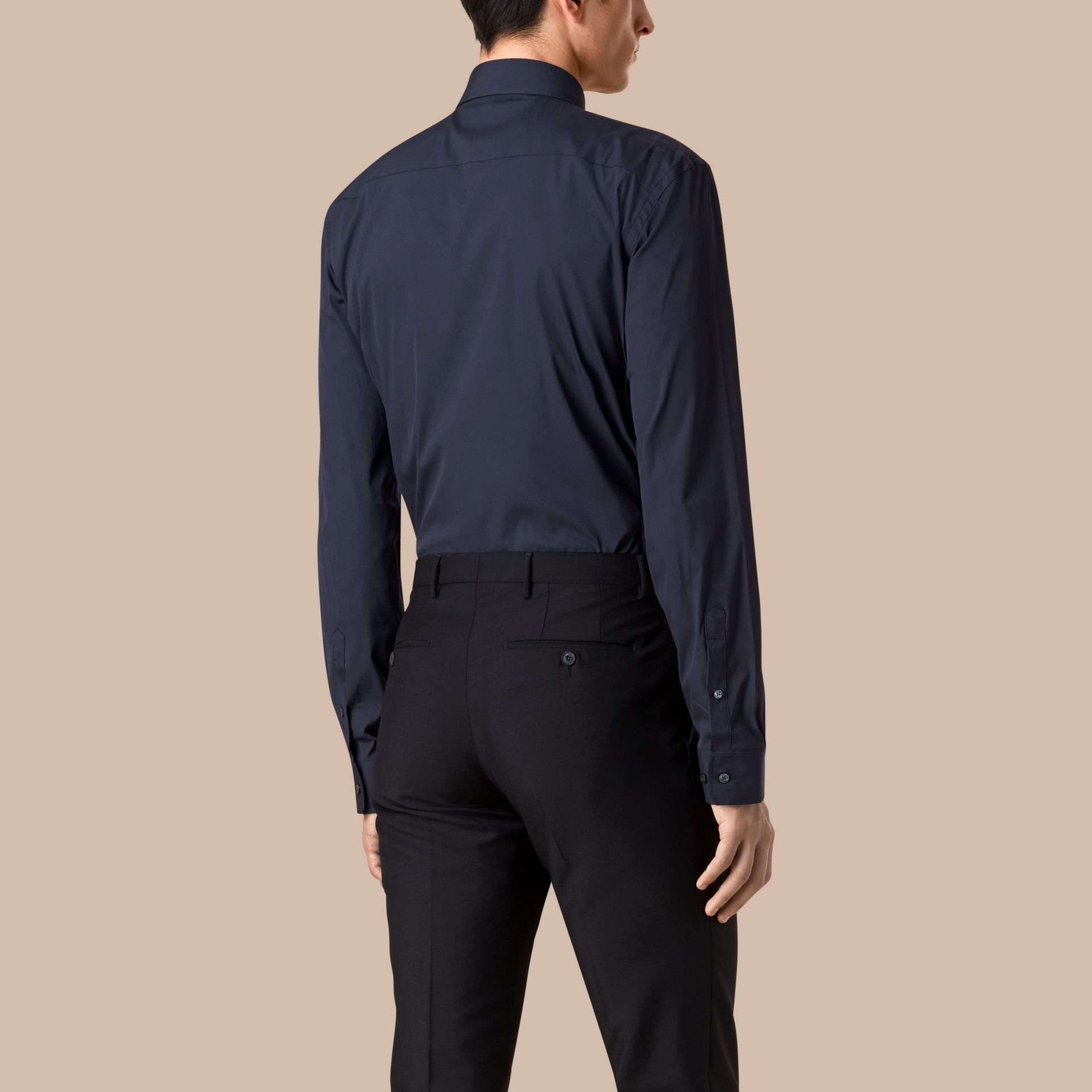 Navy Modern Fit Stretch Cotton Shirt Navy - gallery image 3