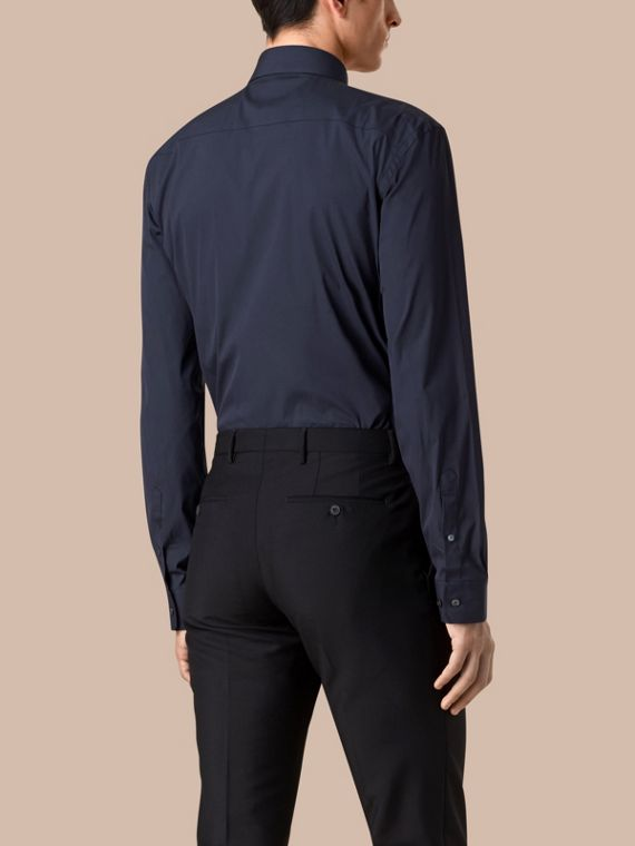 Navy Modern Fit Stretch Cotton Shirt Navy - cell image 2