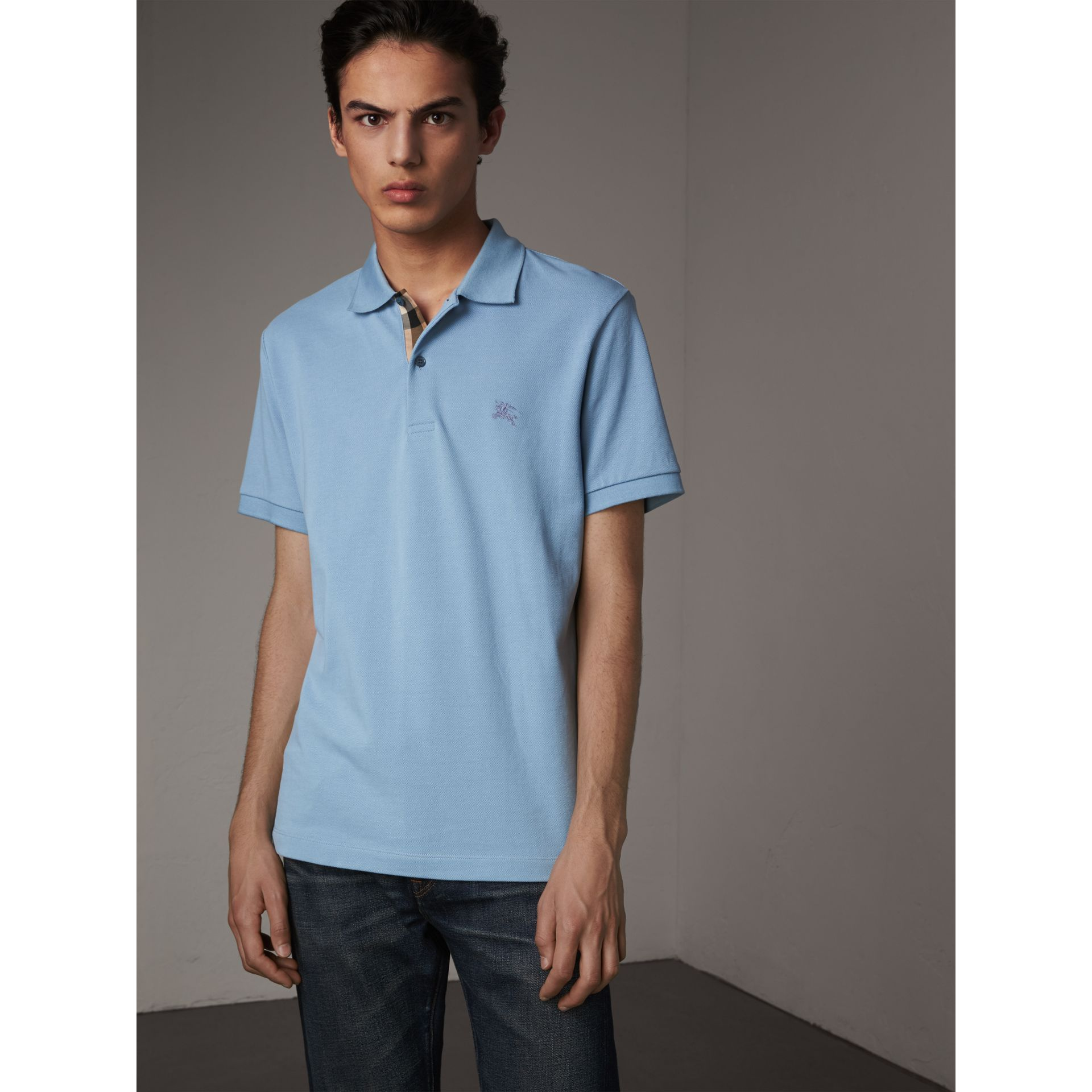 Check Placket Cotton Piqué Polo Shirt in Pale Blue - Men | Burberry Hong Kong - gallery image 0