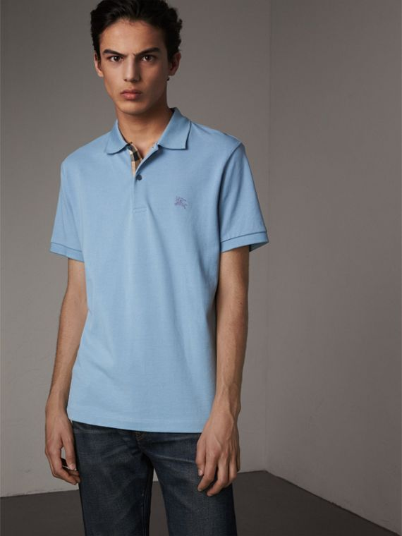 Check Placket Cotton Piqué Polo Shirt in Pale Blue - Men | Burberry