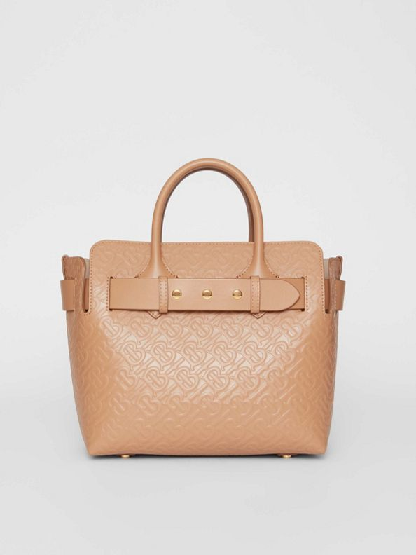 The Small Monogram Leather Triple Stud Belt Bag in Light Camel