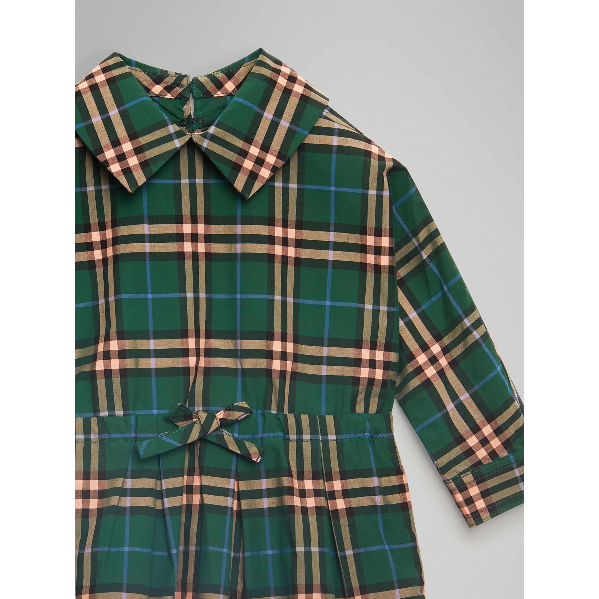 Check Cotton Drawcord Dress in Dark Forest Green - Children | Burberry - gallery image 4