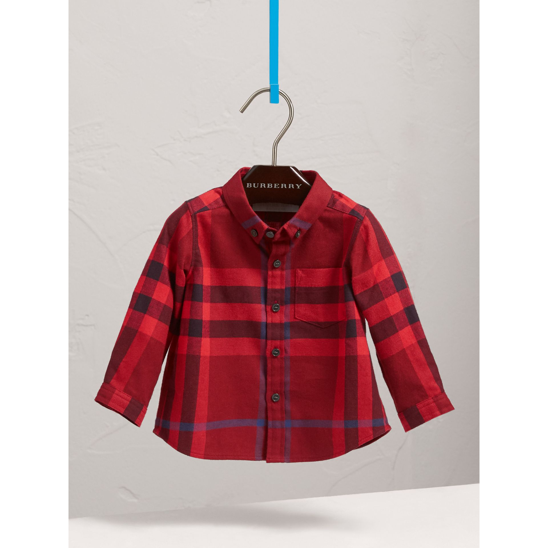 Check Cotton Flannel Shirt in Parade Red - Boy | Burberry - gallery image 2