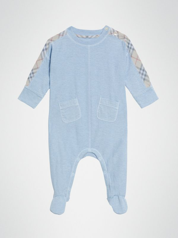 Check Cotton Three-piece Baby Gift Set in Pale Carbon Blue - Children | Burberry United Kingdom - cell image 2