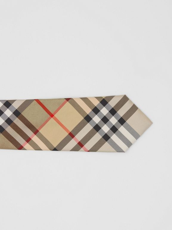 Classic Cut Vintage Check Silk Twill Tie in Archive Beige - Men | Burberry United Kingdom - cell image 1