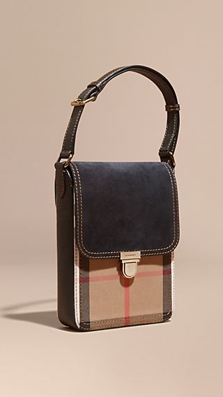 The Small Satchel in English Suede and House Check