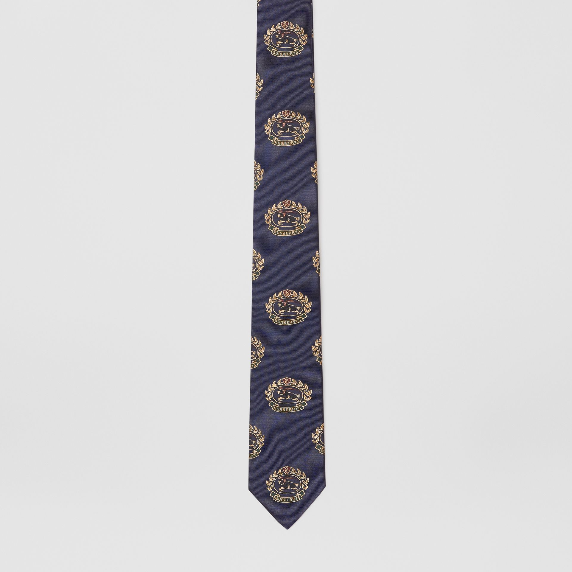 Slim Cut Archive Crest Silk Tie in Navy - Men | Burberry - gallery image 4