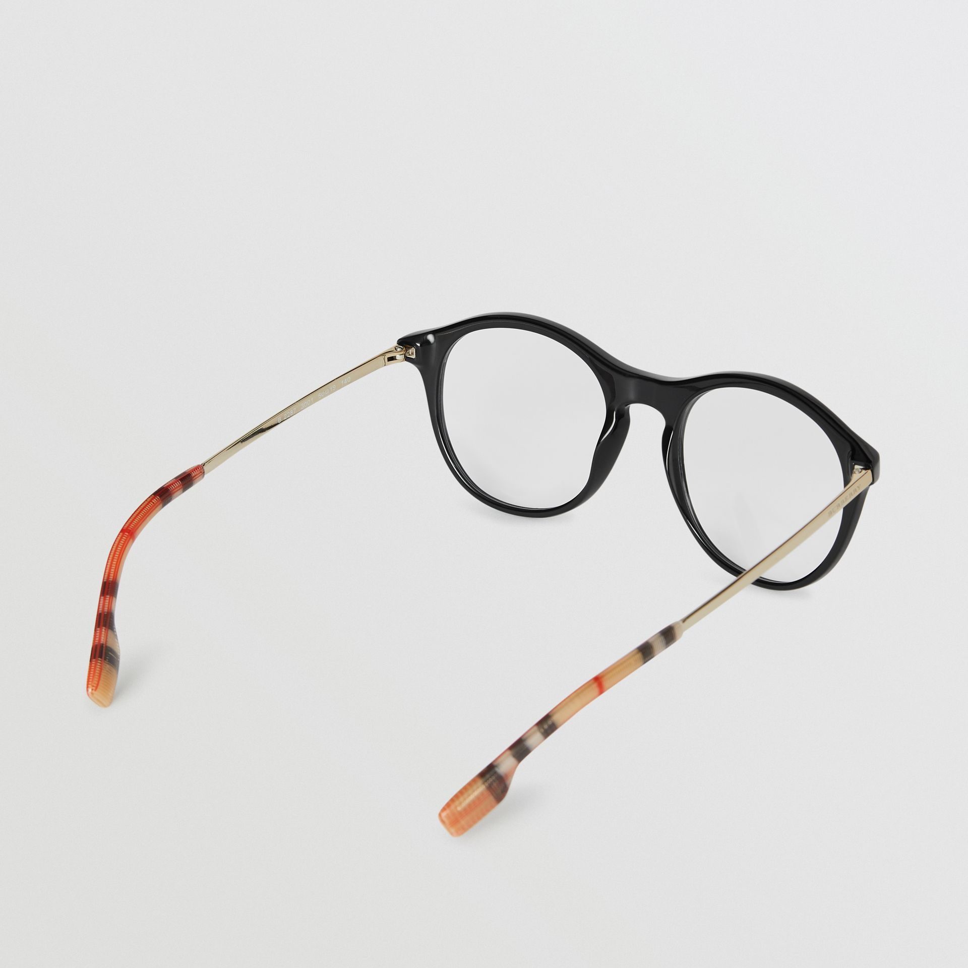 Vintage Check Detail Round Optical Frames in Black - Women | Burberry Australia - gallery image 3