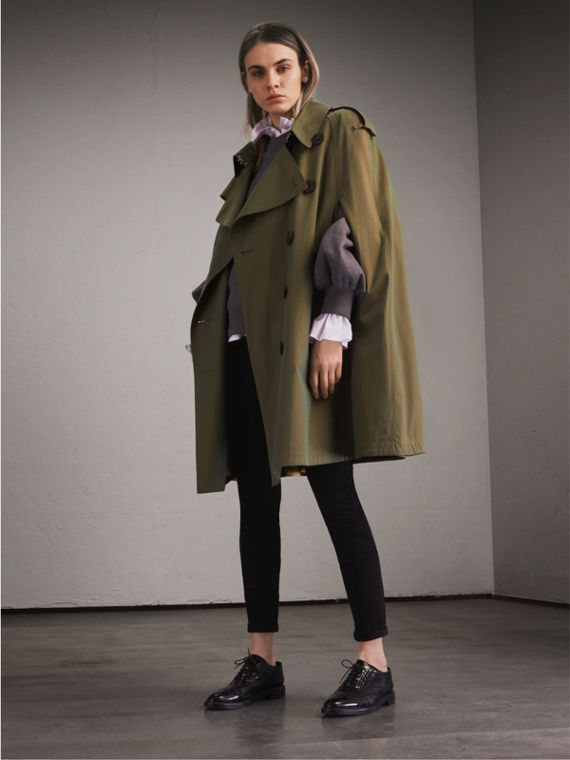 Tropical Gabardine Cape with Check Detail in Bright Olive