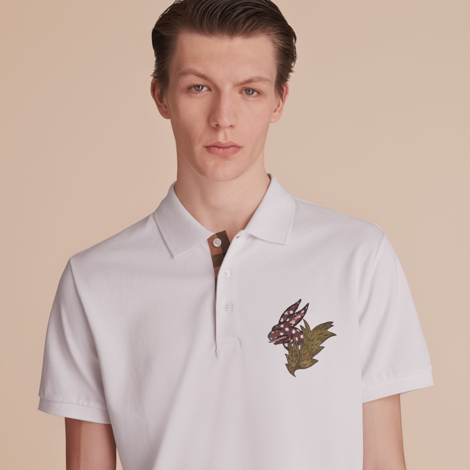 Beasts Motif Cotton Piqué Polo Shirt in White - Men | Burberry - gallery image 5