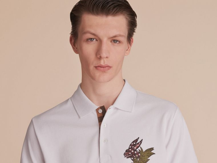 Beasts Motif Cotton Piqué Polo Shirt in White - Men | Burberry - cell image 4