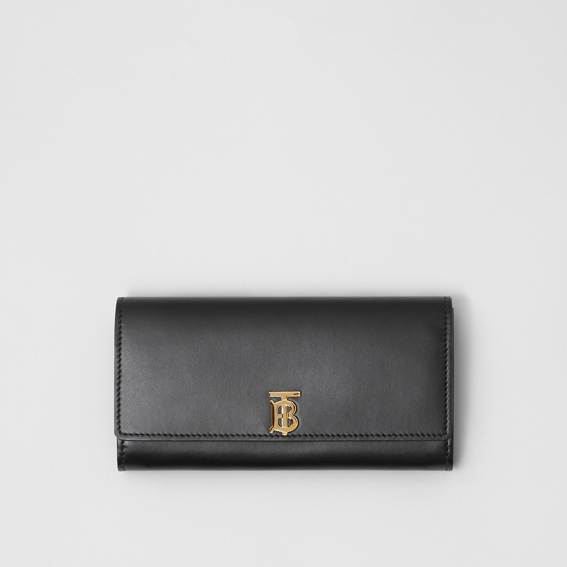 Monogram Motif Leather Continental Wallet in Black - Women | Burberry - gallery image 0