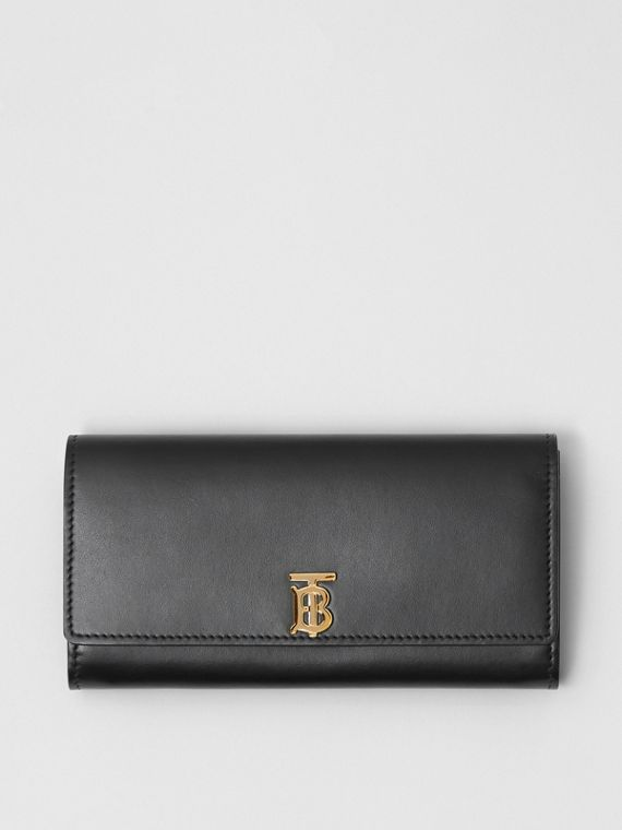 Monogram Motif Leather Continental Wallet in Black