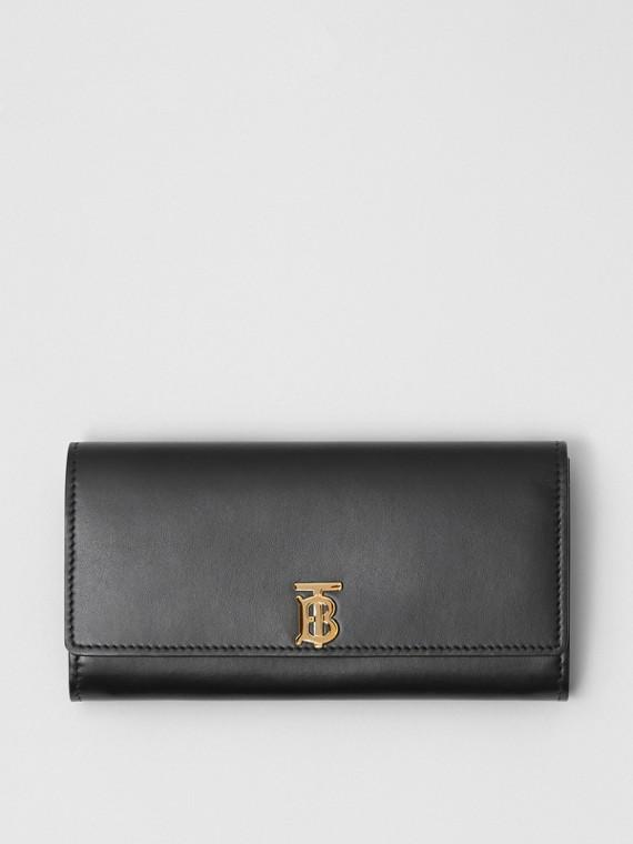 Lederbrieftasche im Kontinentalformat mit Monogrammmotiv (Schwarz)