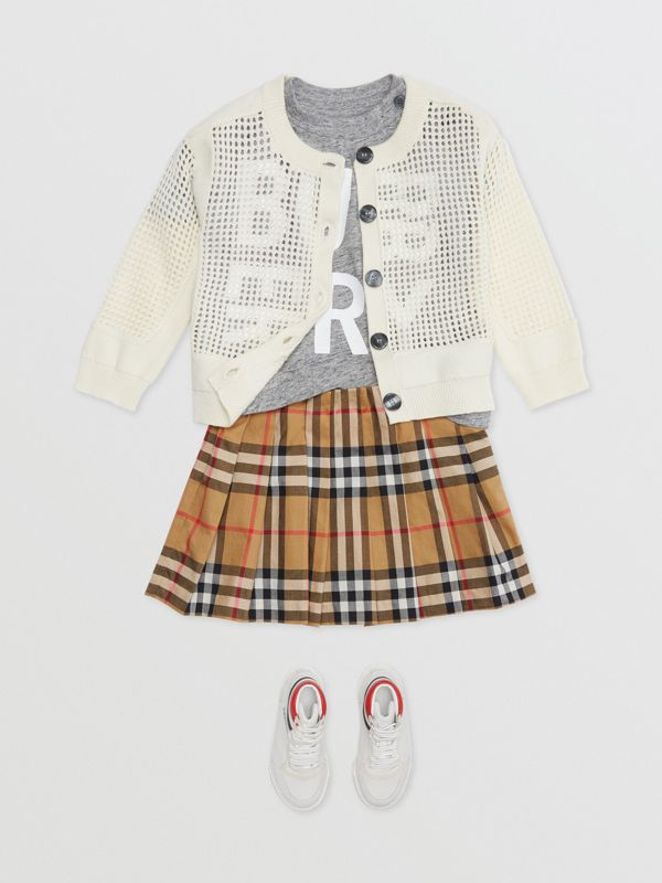 Jupe plissée à motif Vintage check (Jaune Antique) - Enfant | Burberry - cell image 2