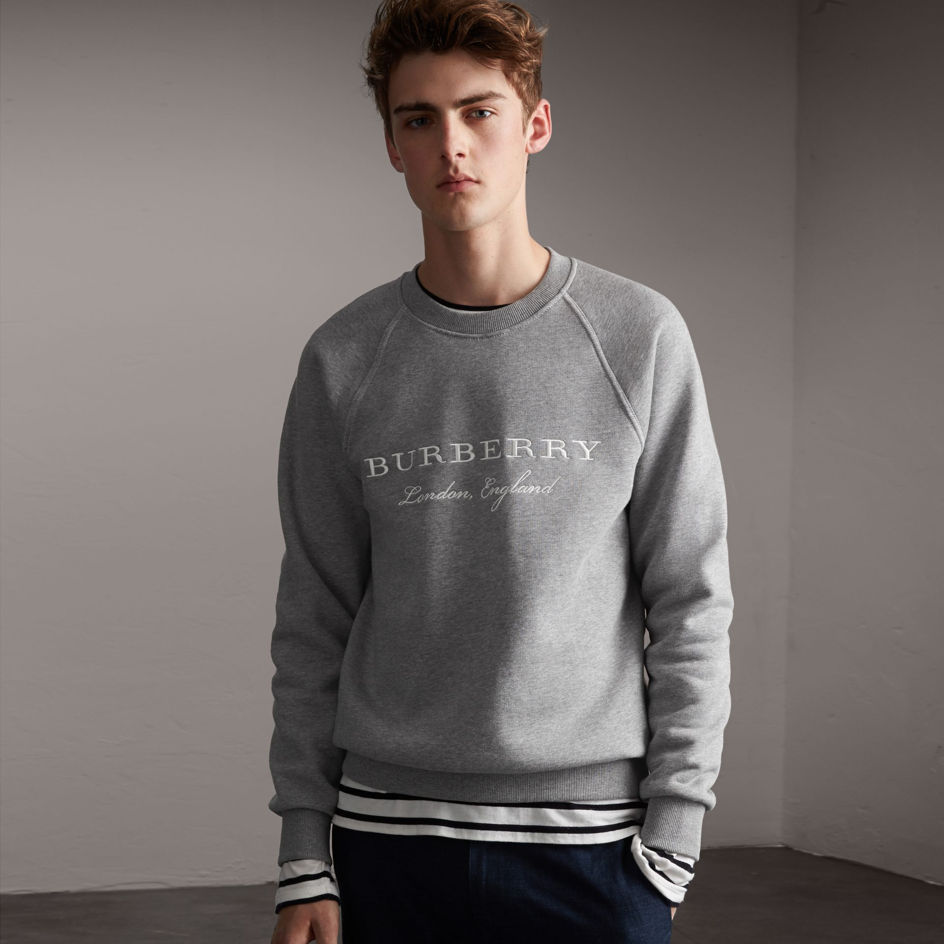 Embroidered Jersey Sweatshirt in Pale Grey Melange - Men | Burberry Hong Kong - gallery image 0