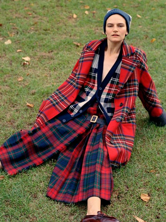 Tartan Double-faced Wool Cashmere Oversized Coat