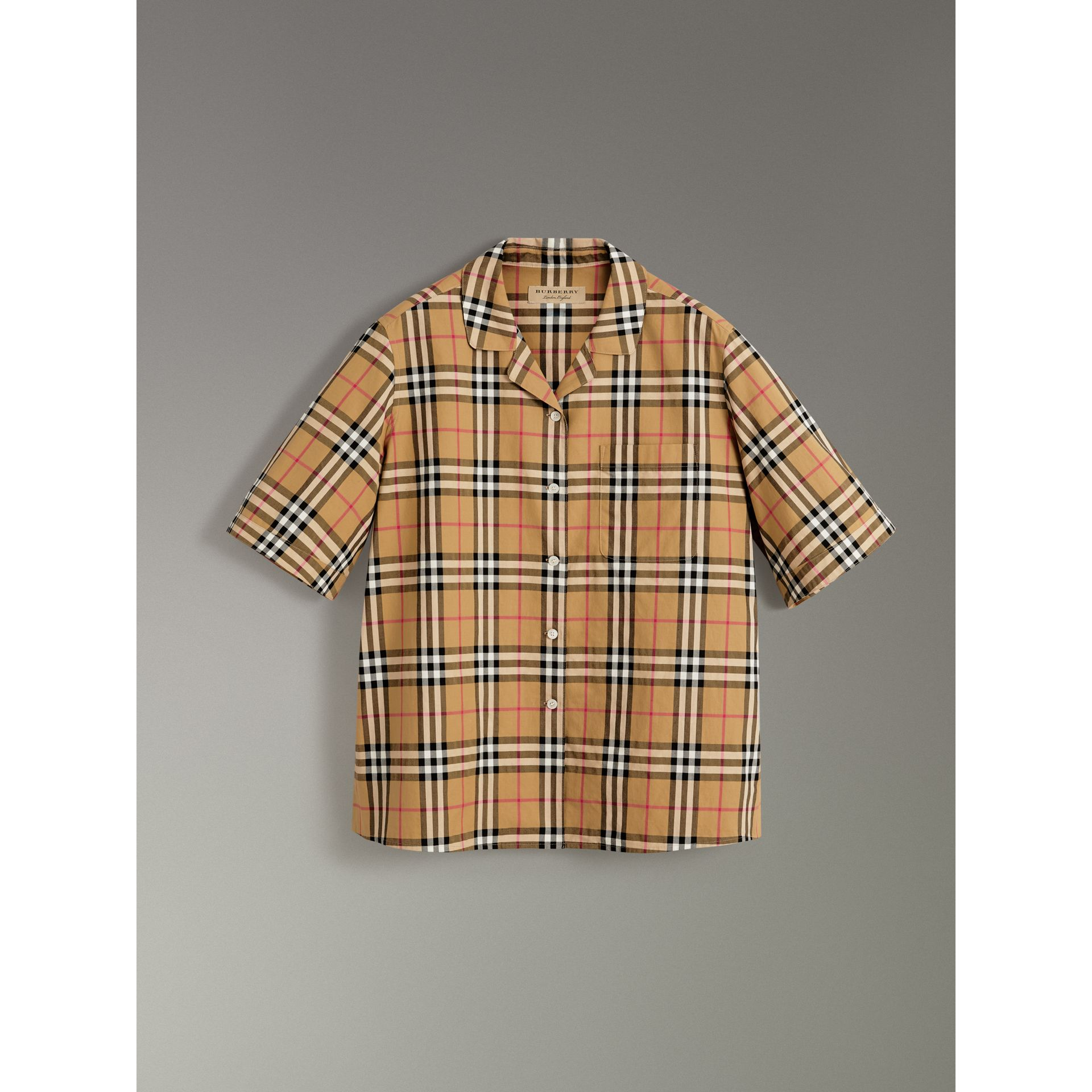Short-sleeve Vintage Check Shirt in Antique Yellow - Women | Burberry Australia - gallery image 3