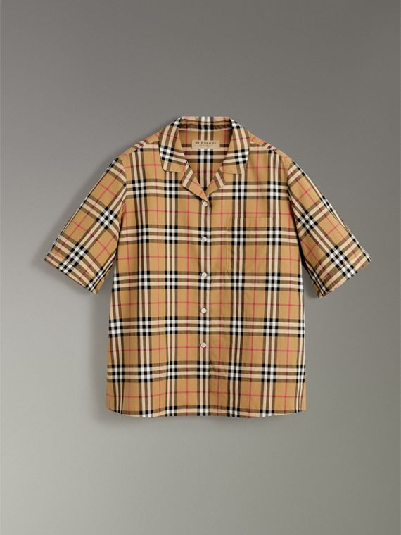 Short-sleeve Vintage Check Shirt in Antique Yellow - Women | Burberry Australia - cell image 3