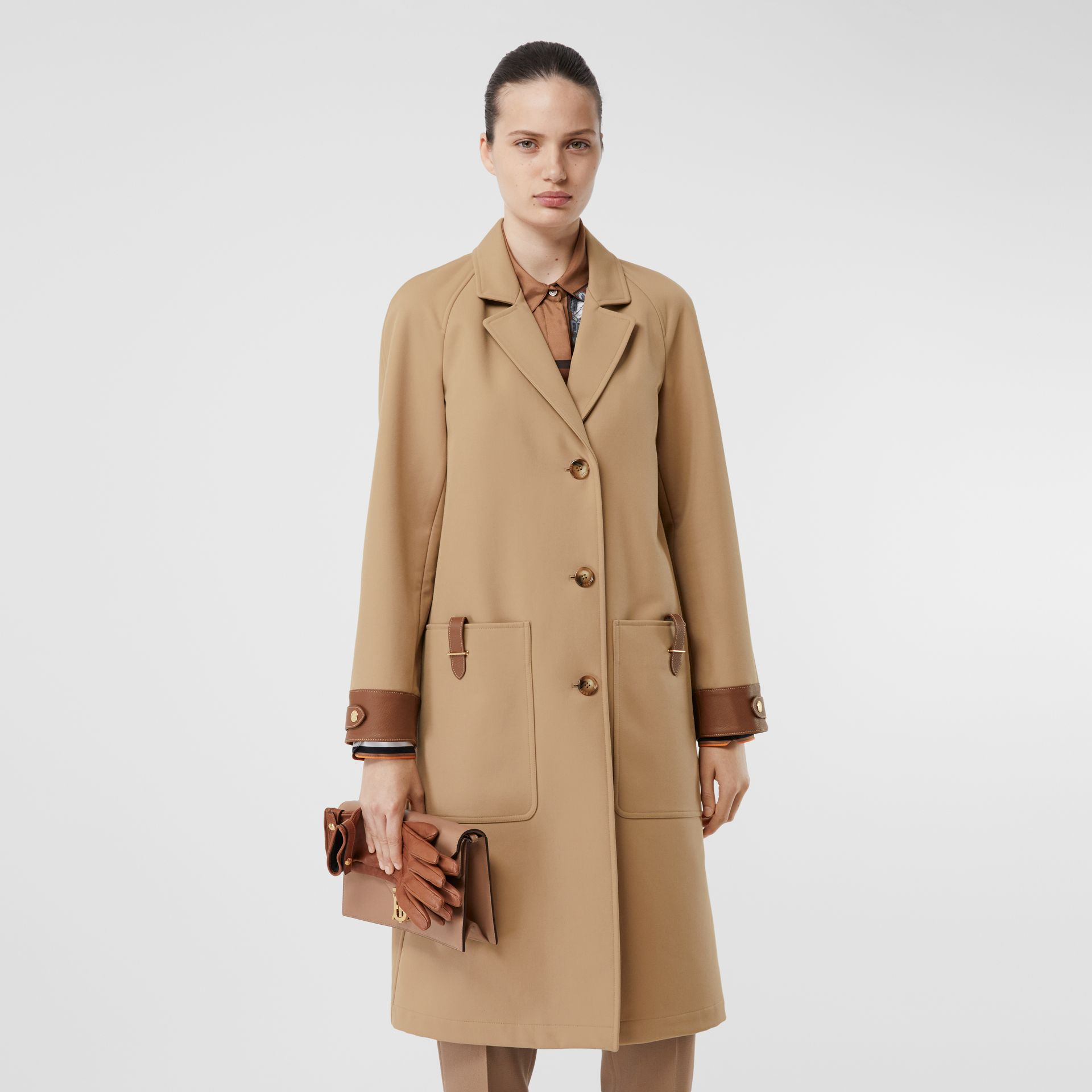 Leather Trim Bonded Cotton Lab Coat in Biscuit - Women | Burberry - gallery image 5