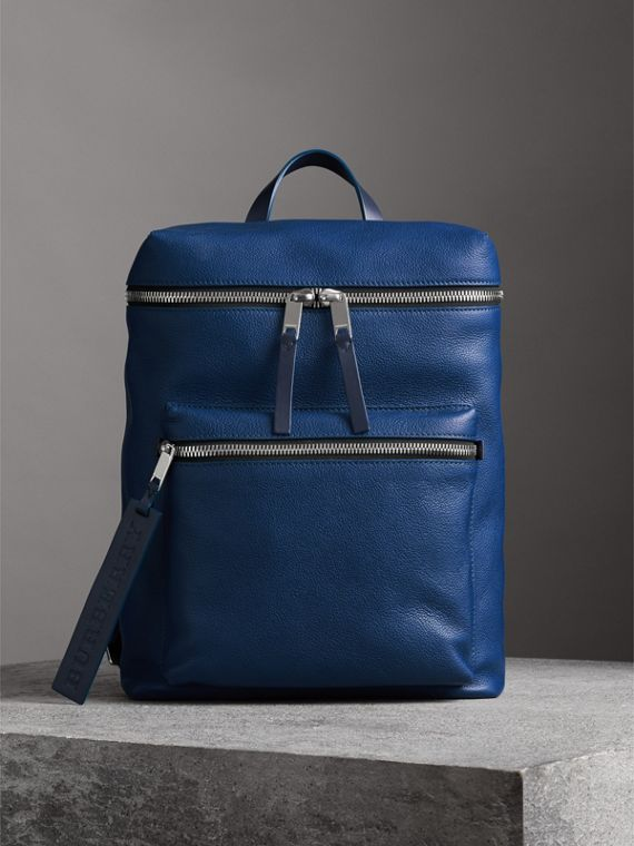Zip-top Leather Backpack in Bright Ultramarine