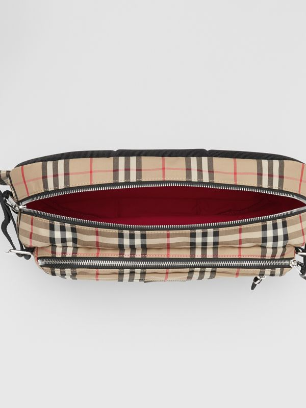 Large Vintage Check Cotton Cannon Bag in Archive Beige | Burberry Australia - cell image 3