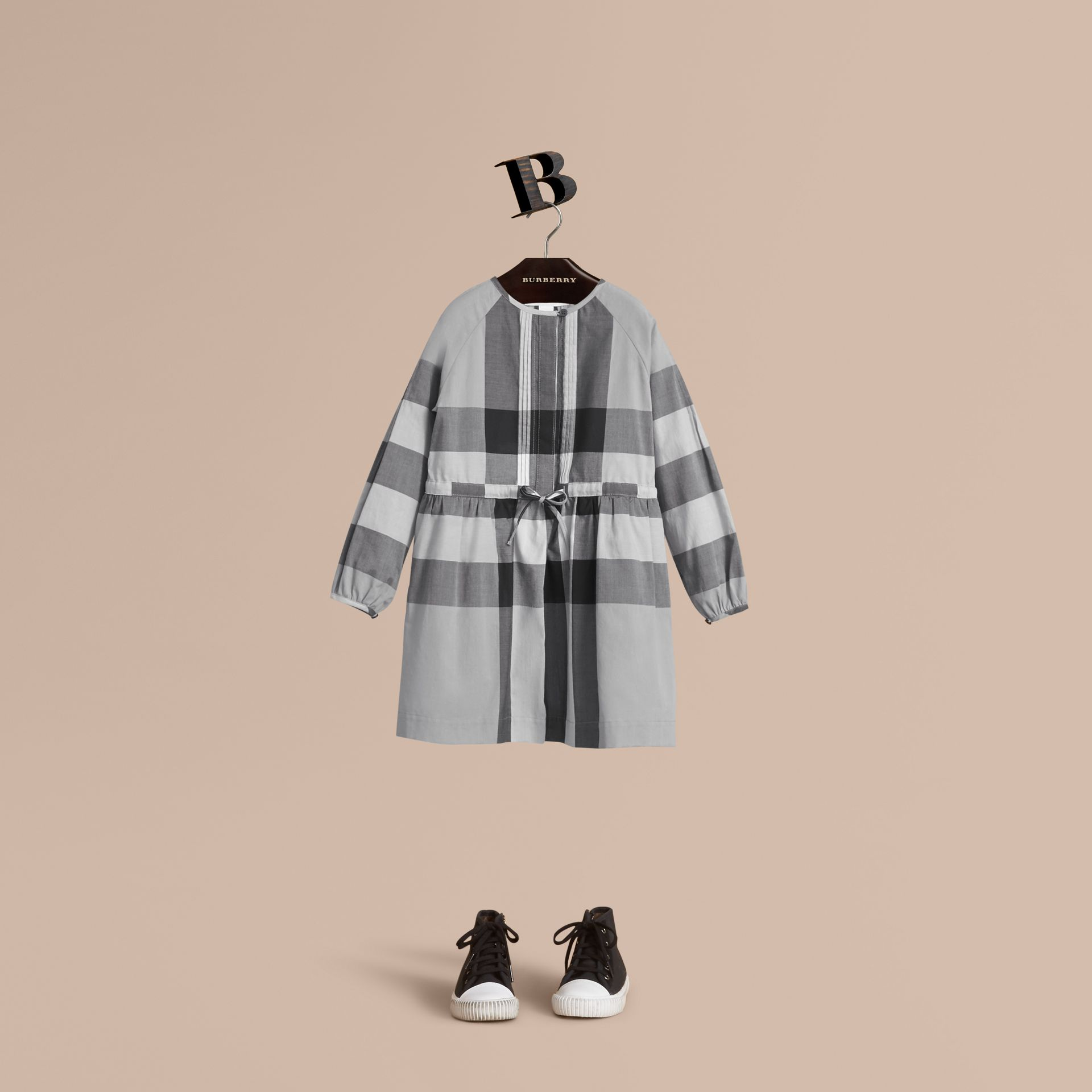 Collarless Check Drawcord Cotton Voile Dress in Pale Stone Blue - Girl | Burberry - gallery image 1