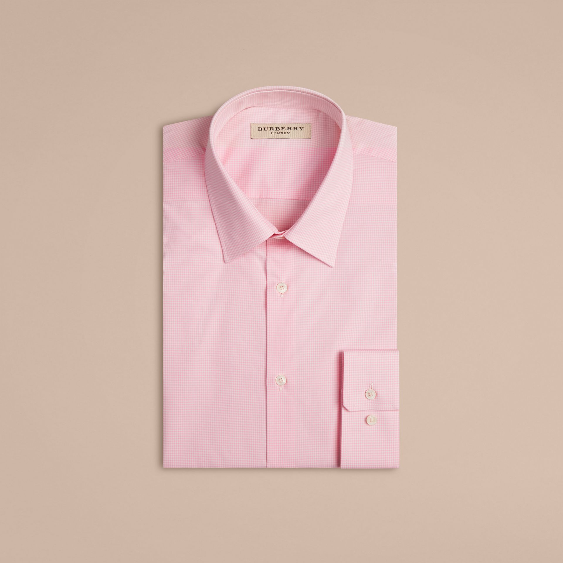 City pink Modern Fit Gingham Cotton Poplin Shirt City Pink - gallery image 4