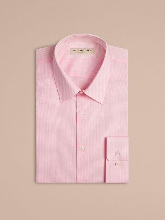 Modern Fit Gingham Cotton Poplin Shirt in City Pink - cell image 3