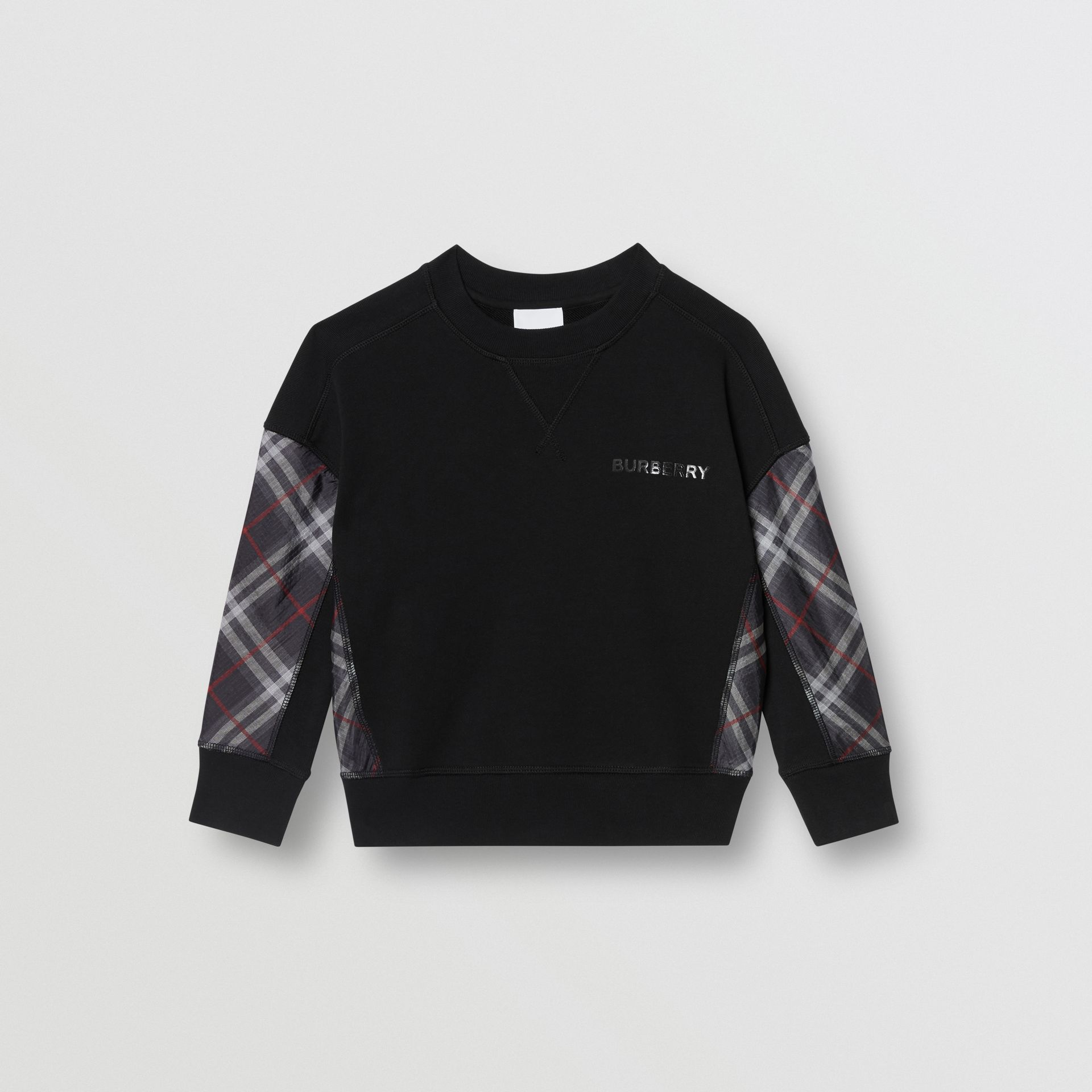 Vintage Check Panel Cotton Sweatshirt in Black | Burberry - gallery image 0